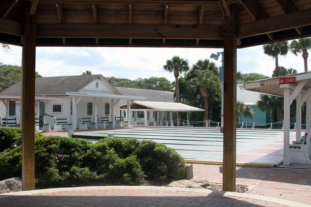 Photo of Coronado Civic Center exterior, gazebo and exterior shuffleboard courts