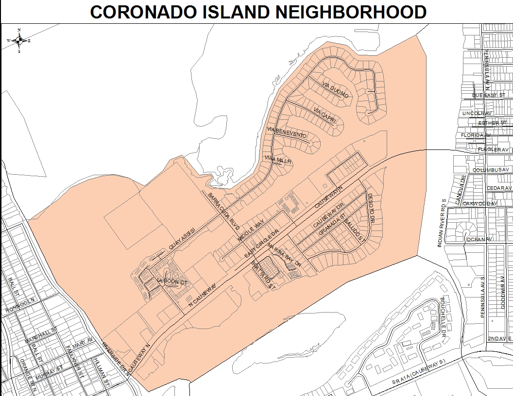 Coronado Island neighborhood map